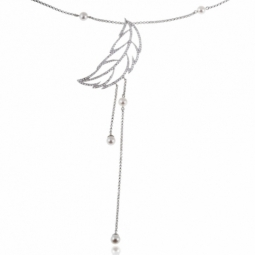 Collier en argent rhodié, plumes, oxydes de zirconium et perles de culture