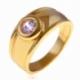 Bague en plaqué or et oxyde de zirconium - A