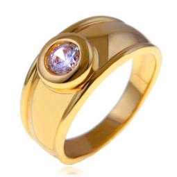 Bague en plaqué or et oxyde de zirconium