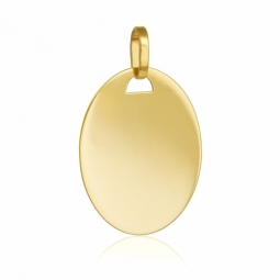 Pendentif en or jaune, plaque ovale