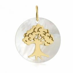 Pendentif en or jaune et nacre, arbre de vie