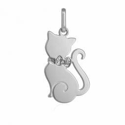 Pendentif en or gris et laque pailletée, chat