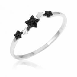Bague en or gris, étoiles oxydes de zirconium noir