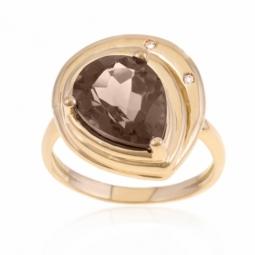 Bague en or jaune quartz fumé diamants