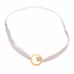 Bracelet en or jaune  et ruban, étoile laque pailletée
