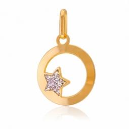 Pendentif en or jaune, motif étoile laque pailletée