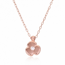 Collier en or rose et oxyde de zirconium