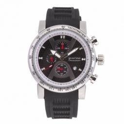 Chronographe homme, boîte acier, bracelet silicone et verre minéral