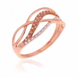 Bague en or rose et rhodié,  diamants et diamants bruns