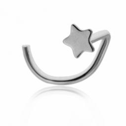 Piercing de nez en or gris, motif étoile