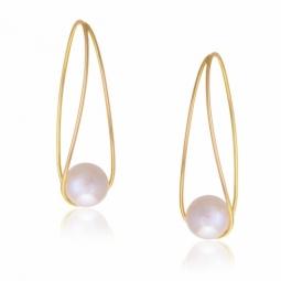 Boucles d'oreilles en or jaune, goutte, perle de culture