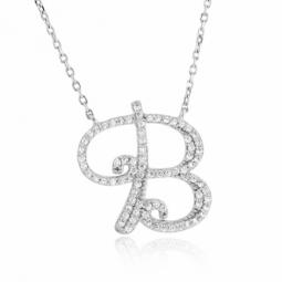 Collier en argent rhodié, lettre B, oxydes de zirconium