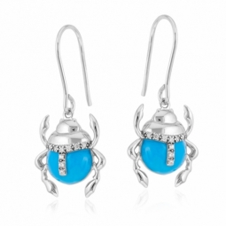 Boucles d'oreilles en argent rhodié, laque et oxydes de zirconium