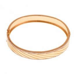 Bracelet jonc en argent rhodié doré , oxydes de zirconium