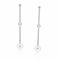 Boucles d'oreilles en argent rhodié, perle synthétique et oxyde de zirconium