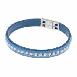 Bracelet en acier, cuir et perles synthétiques