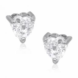 Boucles d'oreilles en or gris et oxyde de zirconium, coeur