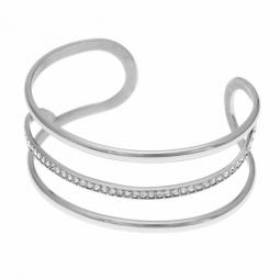 Bracelet jonc en acier et cristaux de synthèse