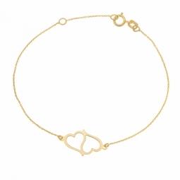 Bracelet en or jaune, coeurs