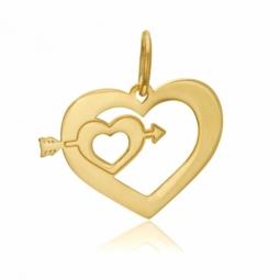 Pendentif en or jaune, coeur et flèche
