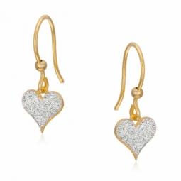 Boucles d'oreilles en or jaune et laque pailletée, coeur