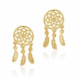 Boucles d'oreilles en or jaune, attrape-rêves