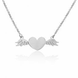 Collier en argent rhodié, coeur et ailes