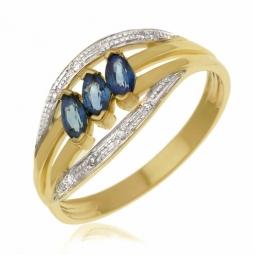Bague en or jaune rhodié, saphirs et diamants