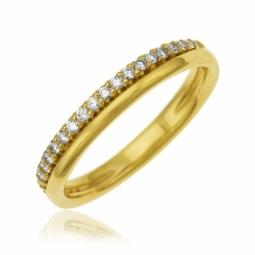 Demi alliance en or jaune et diamants