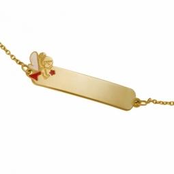 Bracelet identité en or jaune et laque, fée
