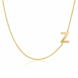 Collier en or jaune, lettre Z