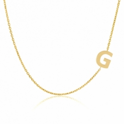Collier en or jaune, lettre G