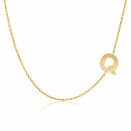 Collier en or jaune, lettre Q