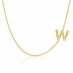 Collier en or jaune, lettre W