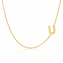 Collier en or jaune, lettre U