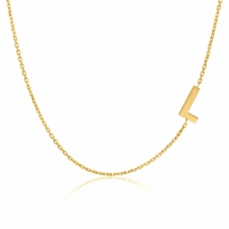 Collier en or jaune, lettre L
