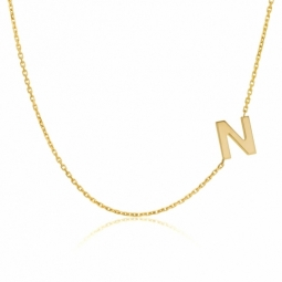 Collier en or jaune, lettre N