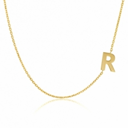 Collier en or jaune, lettre R