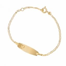 Bracelet identité en or jaune, maille marine, plaque tonneau