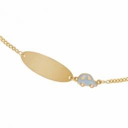 Bracelet identité en or jaune et laque, auto