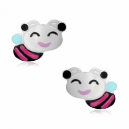 Boucles d'oreilles en argent rhodié et laque, abeilles