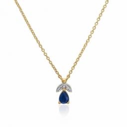 Collier en or jaune rhodié, saphir et diamants