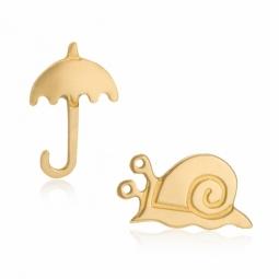 Boucles en or jaune, parapluie et escargot