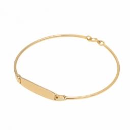 Bracelet jonc en or jaune plaque rectangulaire