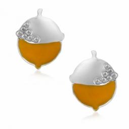 Boucles d'oreilles en argent rhodié et laque