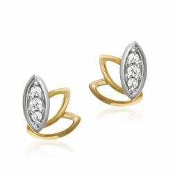 Boucles en or jaune rhodié et diamants