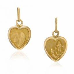 Médaille coeur en or jaune, vierge reversible apparition