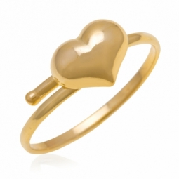 Bague en or jaune, coeur