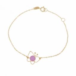 Bracelet en or jaune et laque, papillon