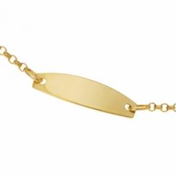 Bracelet identité en or jaune, maille jaseron